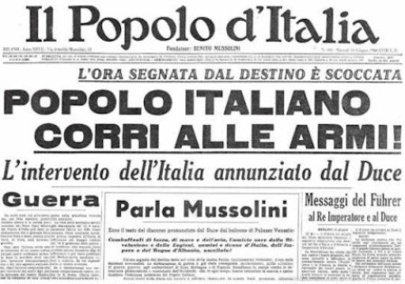 Front page of the Popolo d'Italia, the newspaper founded by Benito Mussolini - June 11th, 1940