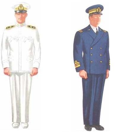 Left: Lieutenant Commander, Line - Summer Uniform.</br>