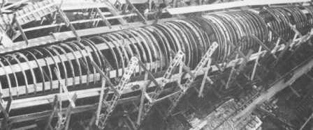The hull was made of cylindrical beams (reinforcement rings) positioned about 520 mm (20.47 in) apart </br>