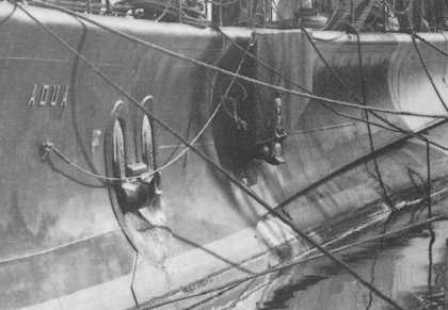 The forward diving plane and the anchor of the submarine Adua.</br>