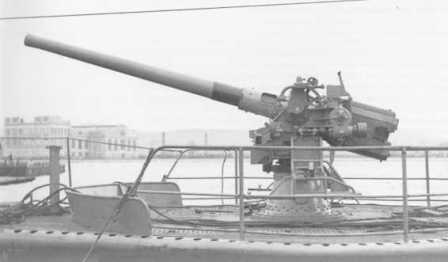 The 100/47 mm deck gun of the Smg. PORFIDO.</br>