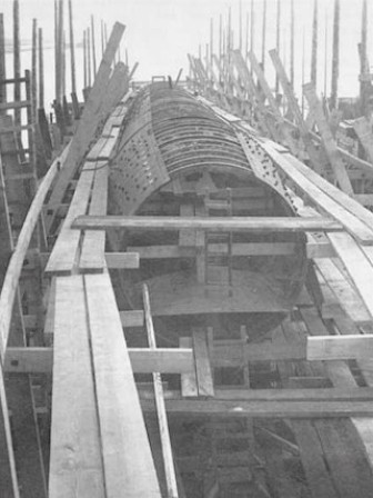 The resistant, or pressure hull of the ARGO. Note the steel plates were riveted to cylindrical beams, and how the hull decreased in diameter toward the ends.</br>