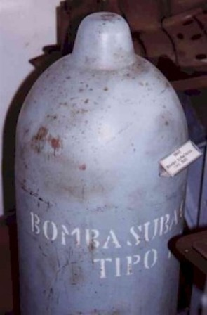 Underwater bomb of the type BAS with a charge of 75Kg. of TNT -