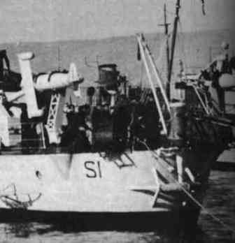 Discharger and towed torpedo on the R.N. Sirio
